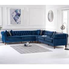Candela Modern Fabric Corner Sofa In Blue Velvet