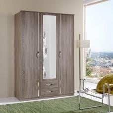 Candice Mirror Wardrobe In Montana Oak And Chrome With 3 Doors