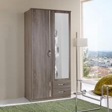Candice Mirror Wardrobe In Montana Oak And Chrome With 2 Doors