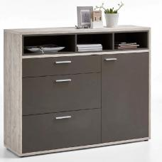 Canelo Shoe Storage Cabinet In Lava And Sand Oak With 1 Drawer