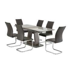 Cannes Extendable Glass Dining Table Grey With 6 Ellis Chairs