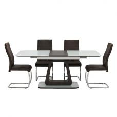 Cannes Extendable Glass Dining Table In White With 6 Chairs
