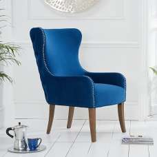 Canning Velvet Accent Lounge Chair In Blue With Wooden Legs