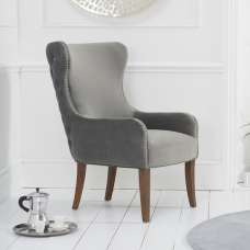 Canning Velvet Accent Lounge Chair In Grey With Wooden Legs