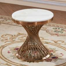 Canora Marble Effect Lamp Table In White With Rosegold Base