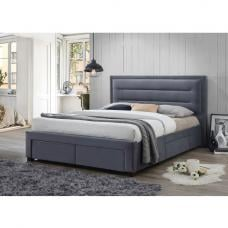 Canterbury Contemporary Fabric Bed In Grey With Storage