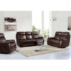 Canton Recliner Sofa Suite In Tan Faux Leather