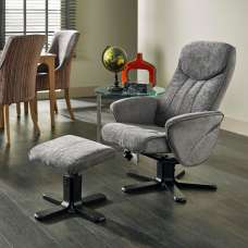 Cantrell Contemporary Recliner Chair In Steel Fabric