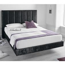 Capiz Fabric Double Bed In Crushed Velvet Black With 2 USB Slots