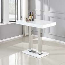 Caprice Bar Table In White And Stainless Steel Support