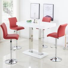Caprice Bar Table In White Gloss With 4 Ripple Bordeaux Stools