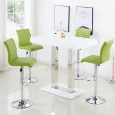 Caprice Bar Table In White Gloss And 4 Ripple Lime Green Stools