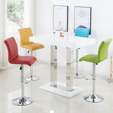 Caprice Bar Table In White Gloss And 4 Ripple Multicolor Stools