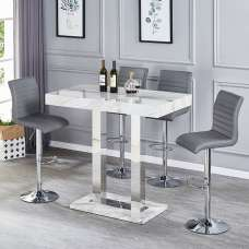 Magnesia Grey Marble Effect Bar Table And 4 Ripple Grey Stools