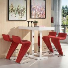 Caprice Bar Table In White Gloss And 4 Farello Red Bar Stools