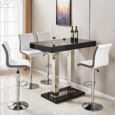 Caprice Glass Bar Table In Black Gloss With 4 Ritz White Stools
