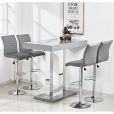 Caprice Glass Bar Table In Grey Gloss With 4 Ripple Stools
