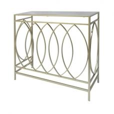 Cara Console Table In Mirrored Glass Top And Gold Frame