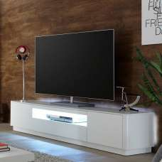 Cardinal Modern TV Stand In Matt White With 2 Doors And LED