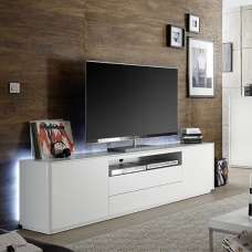 Cardinal Modern TV Stand Wide In Matt White With 2 Doors And LED