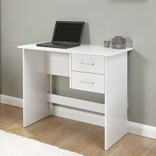Carlow Wooden Computer Desk In White With 2 Drawers
