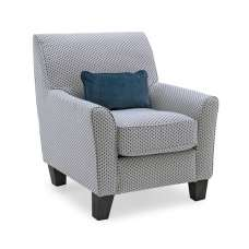 Carmela Fabric Accent Chair In Teal With Wooden Legs