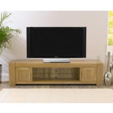 Carnell Wooden TV Stand Rectangular In Solid Oak With 2 Doors