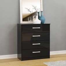 Carola Chest Of Drawers In Black High Gloss With 4 Drawers