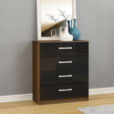 Carola Chest Of Drawers In Walnut Black High Gloss 4 Drawers
