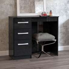 Carola Dressing Table In Black High Gloss With 3 Drawers