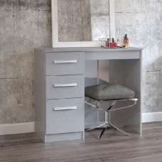 Carola Dressing Table In Grey High Gloss With 3 Drawers