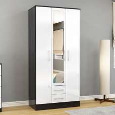 Carola Mirrored Wardrobe In Black White High Gloss With 3 Doors