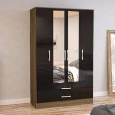 Carola 4 Doors Mirrored Wardrobe In Walnut And Black High Gloss