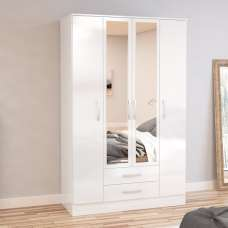Carola Mirrored Wardrobe In White High Gloss And 4 Doors
