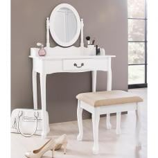 Carolina Dressing Table With Mirror And Stool In White