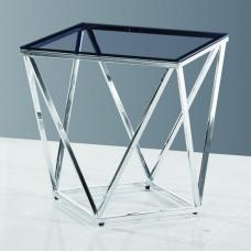 Carsen Glass Side Table In Smoke With Polished Steel Frame