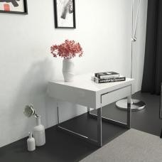 Casa Side Table In White Gloss With Chrome Legs And Drawer