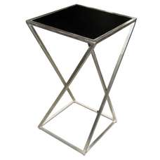 Caspa Metal Square Top Plant Stand Medium In Silver And Black