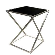 Caspa Metal Square Top Plant Stand Small In Silver And Black