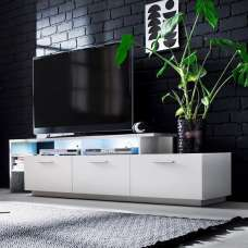 Caspa TV Stand In Matt White And Stone Grey With LED Lighting