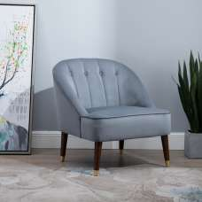 Cassia Fabric Accent Chair In Grey With Wooden Legs