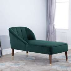 Cassia Fabric Chaise Longue In Green With Wooden Legs