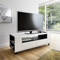 Catelyn TV Stand in Matt White And Anthracite With Castors