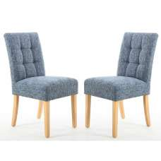 Catria Dining Chair In Oxford Blue With Natural Legs In A Pair