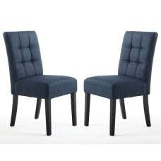 Catria Dining Chair In Polo Blue With Black Legs In A Pair