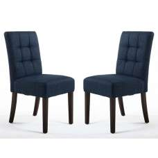 Catria Dining Chair In Polo Blue With Brown Legs In A Pair