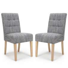 Catria Dining Chair In Tweed Grey With Natural Legs In A Pair