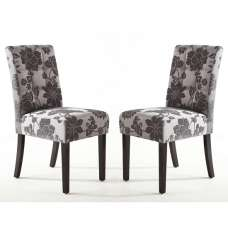 Catria Floral Dining Chair In Antique Grey Brown legs In A Pair