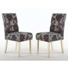 Catria Floral Dining Chair In Antique Grey Cream Legs In A Pair