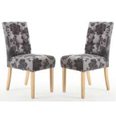 Catria Floral Dining Chair Antique Grey Natural legs In A Pair